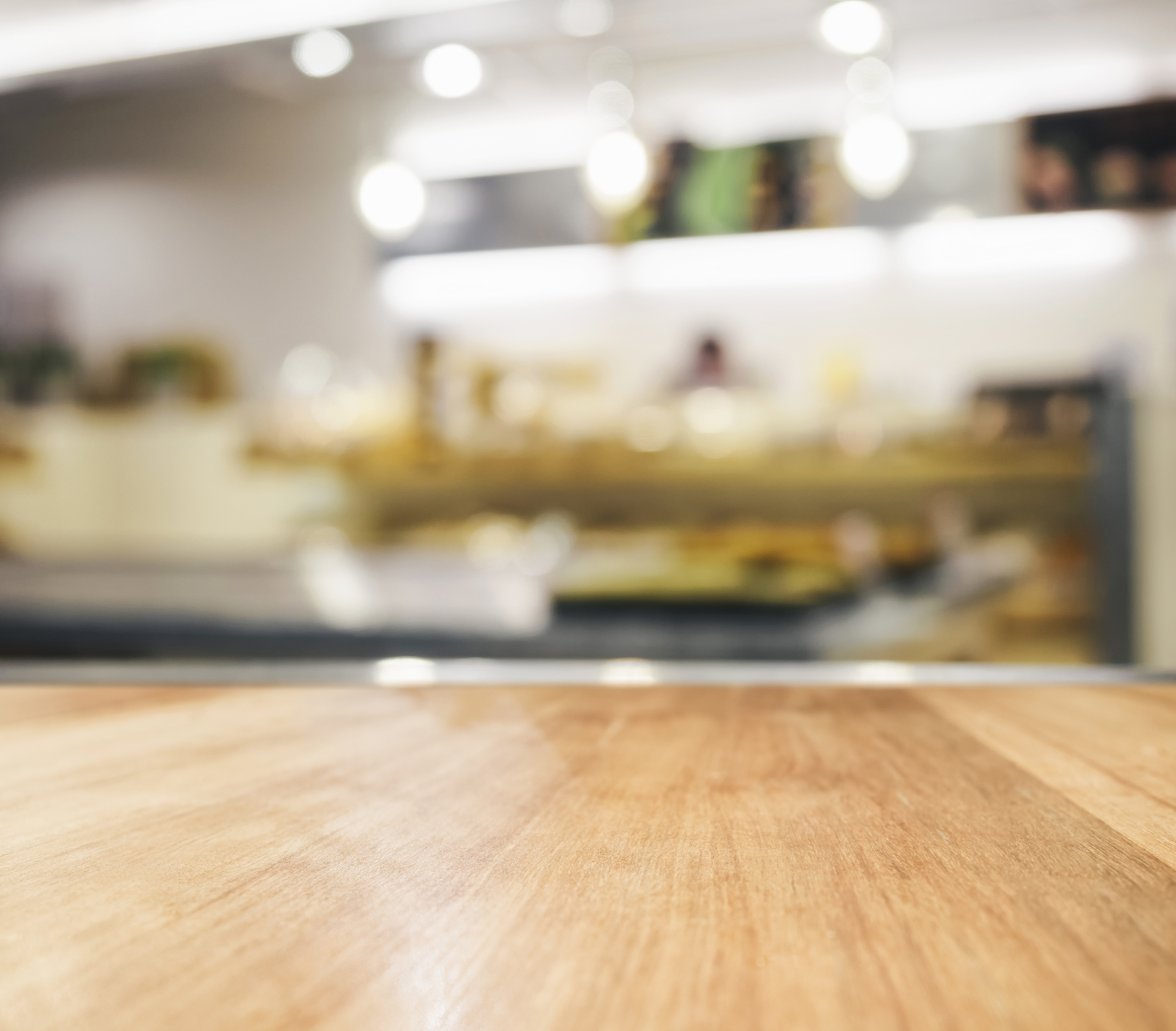 Table Top With Blurred Kitchen Interior Background